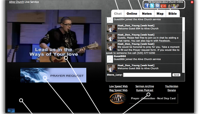 embed streaming church service